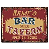 Any Name's BAR and Tavern Custom Personalized Tin Chic Sign Rustic Vintage Style Retro Kitchen Bar Pub Coffee Shop Decor 9'x 12' Metal Plate Sign Home Store Man cave Decor Gift Ideas