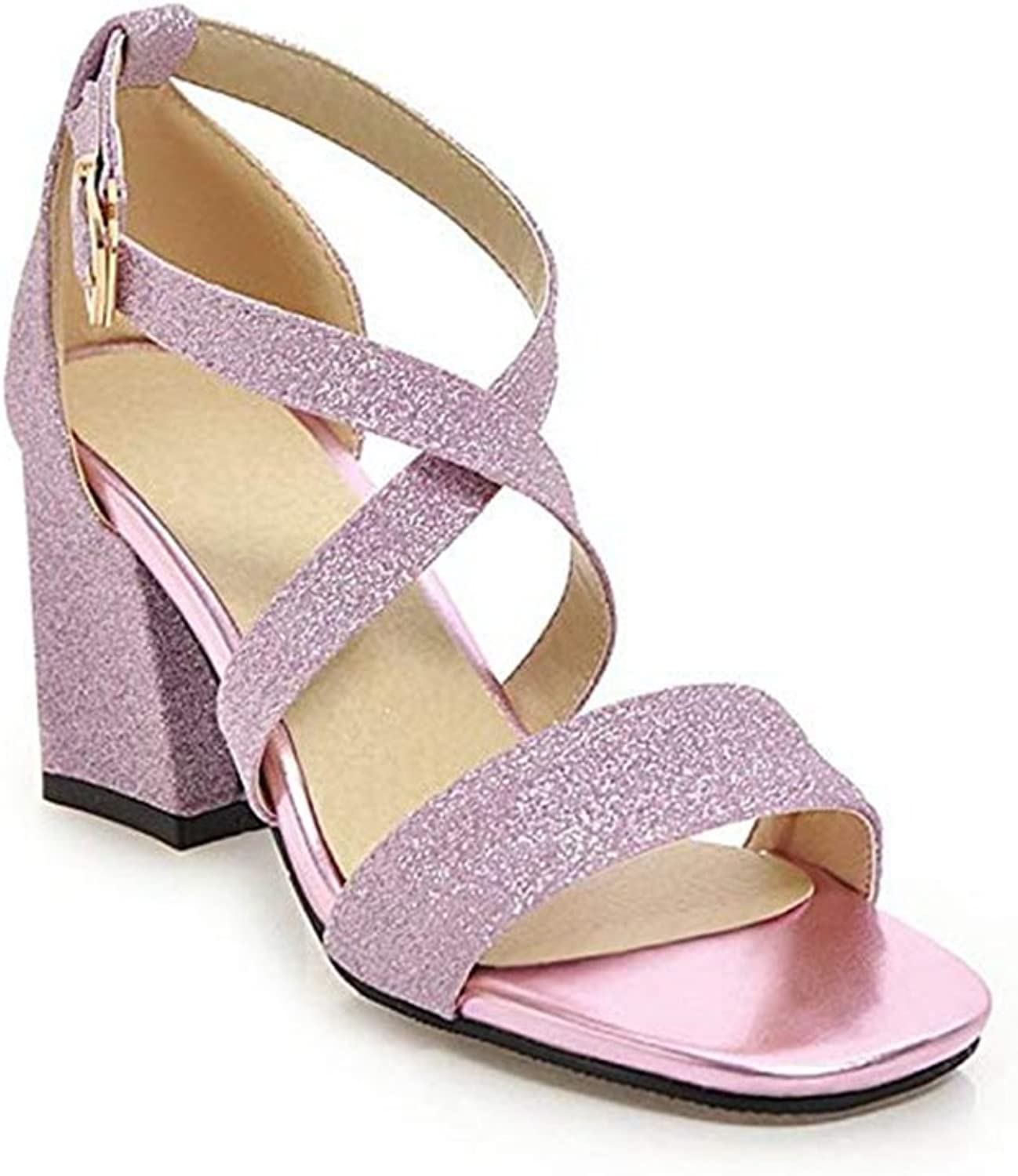 T-JULY Ladies Sex Sparkle Glitter Chunky Heels Open Toe Cross Strap Sandals for Women Evening Dress Pump shoes