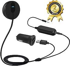 Besign BK01 Receptor Bluetooth Kit de Coche Manos Libres, Adaptador Bluetooth con Conector de Entrada Auxiliar (3.5 mm), Base Magnética y Aislador de Reducción de Ruido para Sistema de Audio de Coche