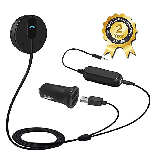 Besign BK01 Bluetooth 4.1 Car Kit for Hands-Free Talking & Music Streaming, Bluetooth Audio Adapter, Music Receiver with Ground Loop Noise Isolator and Magnetic Mounting Base for Car Audio System