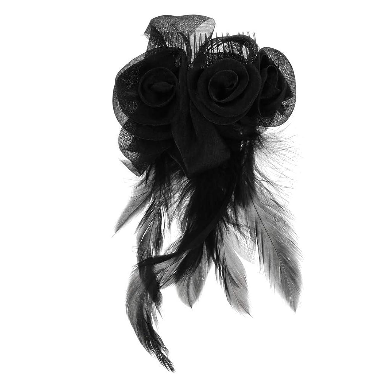服を片付ける申請者ジェーンオースティンGUANG-HOME 羽生地ローズフラワーヘッドバンド髪くし茶パーティーレースは女性女性黒のための魅力的なドレスアップ