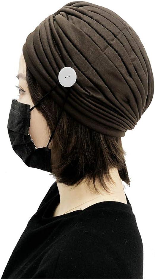 Holiberty Women Beanie Cap Muslim Cap Elastic Sleeping Hats Button Headwrap Hair Loss Hat