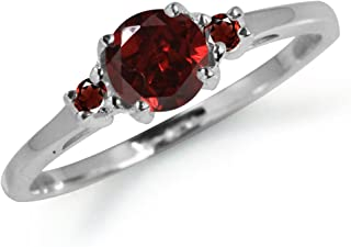 Petite Natural Garnet White Gold Plated 925 Sterling Silver Promise Ring