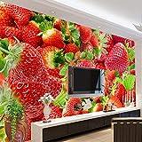 SDzuile Papel Pintado Pared 3D Fotomurales Rojo Fruta Fresa 400X280Cm Fotomural Dormitorio Salon Decoración De Decorativos Papel Fondo De Pantalla De La Habitación De Los Niños