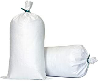 TerraRight Sandbags - Extra Durable Empty White Woven Polypropylene Sand Bags w/Ties, Max. UV Protection, 14