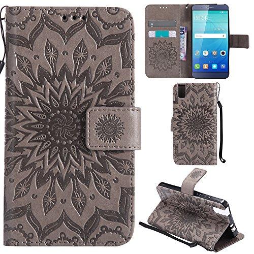 Ooboom® Huawei ShotX Hülle Sonnenblume Muster Flip PU Leder Schutzhülle Handy Tasche Hülle Cover Stand mit Kartenfach für Huawei ShotX - Grau