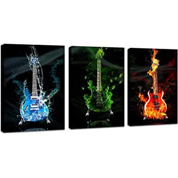 DZL Art A40934 3 Panels Red&Green&Blue Guitar Wall Art Pictures Print On Canvas Painting Wall Art Paintings Wall Artworks Pictures for Home Office Bedroom Wall Decor