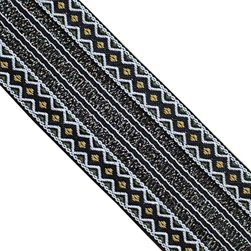 "JL 387 Jacquard Metallic Gold Silver Black Bohemian Ribbon Trim 1-3/4"" (45mm) 5 Yards DIY for Sewing Crafting Home Decor, Wedding, Gift Wrapping, Head Bands, Bag Straps Guitar Straps"