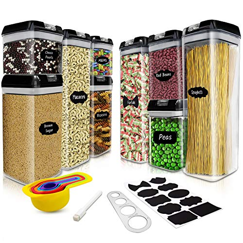Contenitori Alimentari Contenitore Plastica Con Coperchio Set di 9 per Cereali, Avena, Pasta, Cheerios, Noci, Senza BPA, Etichette, Misurini,Dosa Spaghetti in Acciaio Inox