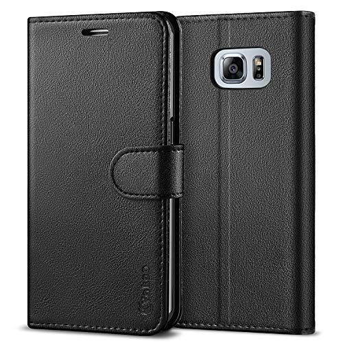 Vakoo Série Wallet Coque pour Samsung Galaxy S6 Edge Etui, Noir
