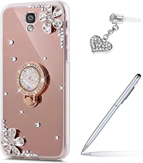 Galaxy S4 Case,Galaxy S4 Mirror Case,ikasus Inlaid diamond Flowers Slim Hybrid Rhinestone Diamond Glitter Bling Mirror Back TPU Case with Ring Stand Holder +Touch Pen Dust Plug for Galaxy S4,Rose Gold