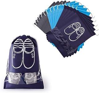 15 Piezas Bolsas Zapatos, Multifunción Bolsa Prueba de Polvo con Ventana Transparente, Portátil Prueba de Humedad Almacenamiento Bolsa para Viajes Hogar, Azul Oscuro, Gris, Azul Claro