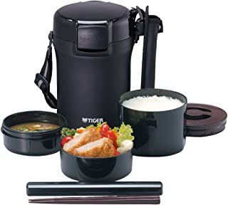 TIGER 虎牌 不锈钢保温便当盒午餐盒 约3杯米容量 黑 LWU-A172-KM Tiger