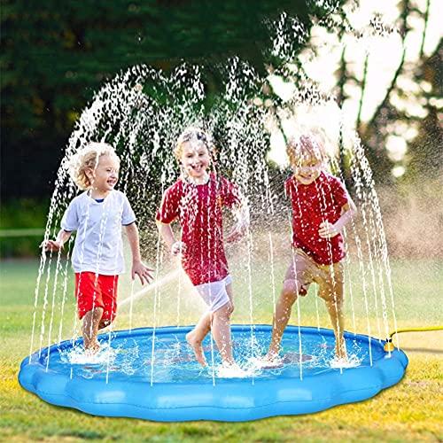 HUA JIE Splash Pad, Inflable PVC Tapete de Agua Chapoteo Actividades Juegos Aire Libre Jardín de Verano Juguete Acuático para Niños 2+ Años, 170cm Chapoteo Almohadilla Aspersor de Juego