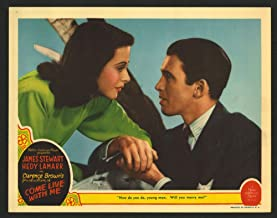 Come Live With Me (1941) Original U.S. Scene Lobby Card Movie Poster 11x14 JAMES STEWART HEDY LAMARR PORTRAIT CARD VERY FINE CONDITION Film directed by CLARENCE BROWN