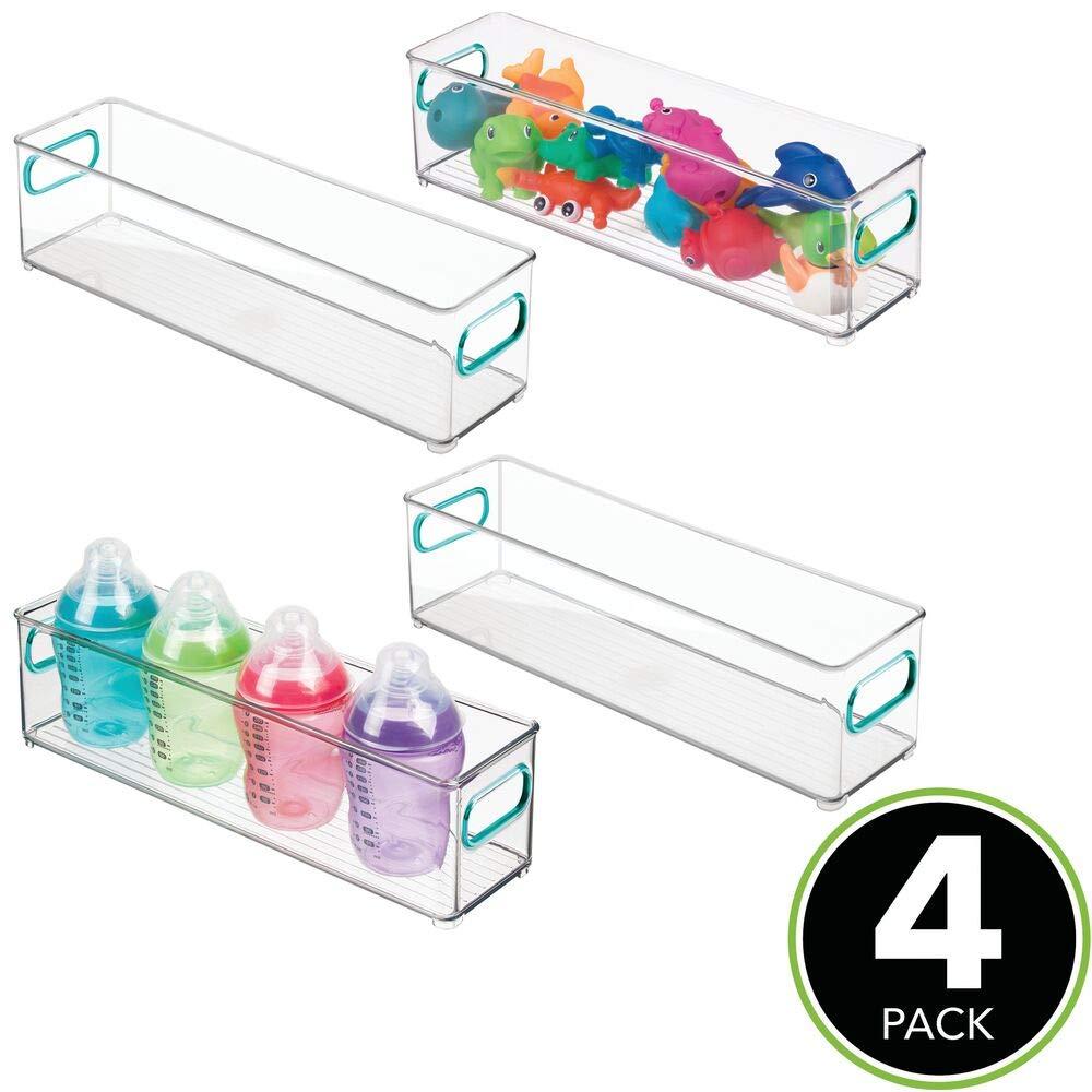 BPA-freier Kunststoffbeh/älter mit gro/ßem Fach f/ür Spielzeug Stofftiere /& Co ohne Deckel Windeln mDesign 4er-Set Kinderzimmer Organizer Sortierbox mit praktischen Griffen durchsichtig
