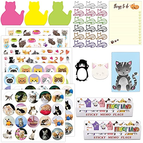 Cat Stationary Set Cute Cat Stickers Sticky Notes Memo Pads Paper Clips Notepads for Office School Gift Cat Lovers