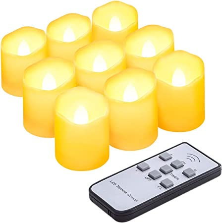 (Upgraded) Tea Lights with Timer, 9 PCS Battery Operated Candle Light Flameless Candles, 2 Speeds, Remote Votive Candles with 5 Brightness for Christmas Party Wedding Festival Decor- Battery Included