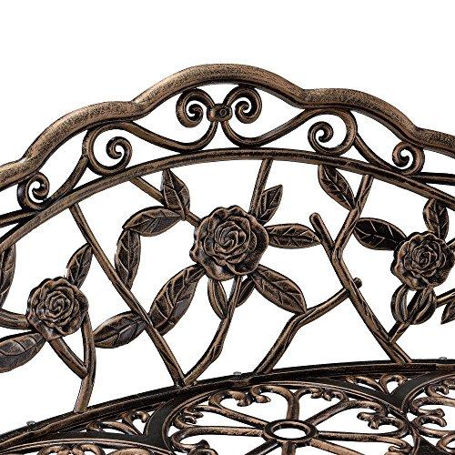 [casa.pro] Gartenbank Bronze Gusseisen – Wetterfester 2-Sitzer rund aus Metall im Antik-Design – Parkbank / Sitzbank / Eisenbank im Landhausstil - 4