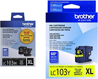 Brother Genuine High Yield Black Ink Cartridges, LC1032PKS, 2 & LC-103Y DCP-J132 J152 J171 J4110 J552 J752 MFC-J245 J285 J...