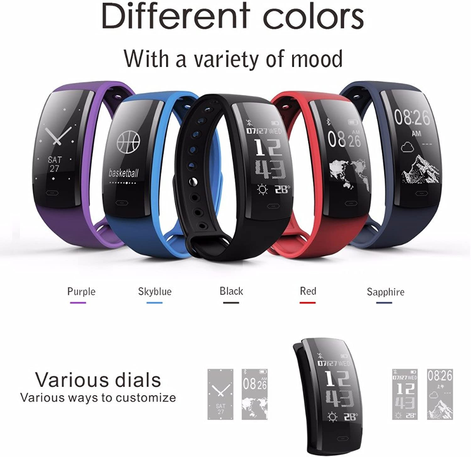 QS90 Smart Bracelet Heart Rate Monitor Blood Pressure Blood Oxygen IP67 Fitness Tracker for Andriod iOS