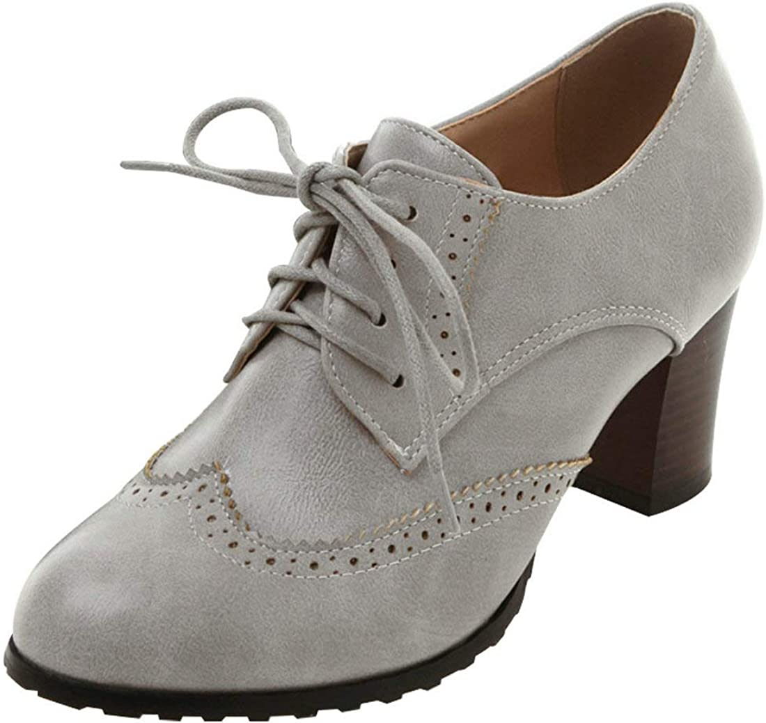 LUXMAX Courier shipping free shipping Las Vegas Mall Womens Tie Up Stacked Chunky Heel Wingtip Vintage Oxfords