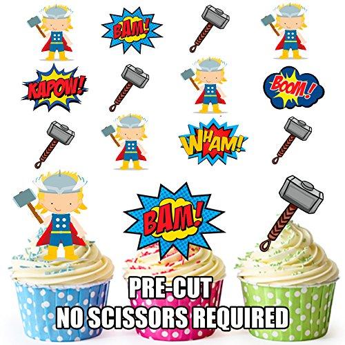 AK Giftshop PRE-CUT Thor Superhero - Edible Cupcake Toppers/Cake Decoraties (Pak van 12)