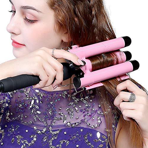 Adkwse Lockenstab 3 Fässer 22mm Welleisen mit Turmalin Keramik Digitale Temperaturanzeige Curling Iron Lockenwickler für Lange/kurze Haare (Rosa)