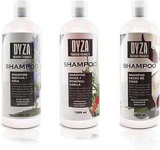 Shampoo de Coco, Biotina y Chile, romero y sabila 3 piezas c/u de 1000 ml.