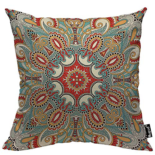 Mugod Paisley Flower Throw Pillow Cover Traditional Ethnic Floral Red Teal White Yellow Cotton Linen Square Cushion Cover Standard Pillowcase 18x18 Inch for Home Decorative Bedroom/Living Room/Car