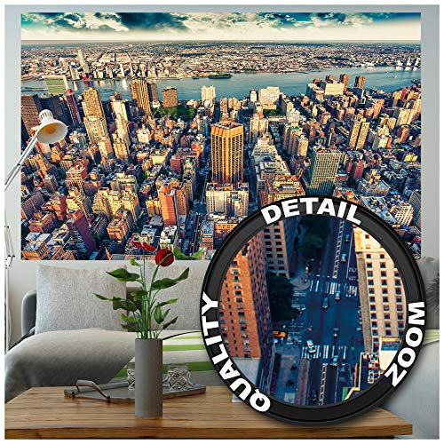 Poster – Penthouse View New York at Dusk - Picture Decoration City America Skyline Sightseeing Skyscraper Metropolis Sunset Image Photo Decor Wall Mural (55x39.4in - 140x100cm)