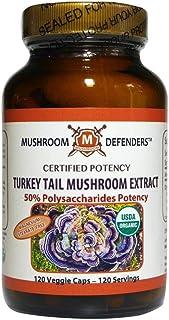 Turkey Tail Organic Extract 50% Polysaccharide Potency Mushroom Defenders 120 Veg Cap