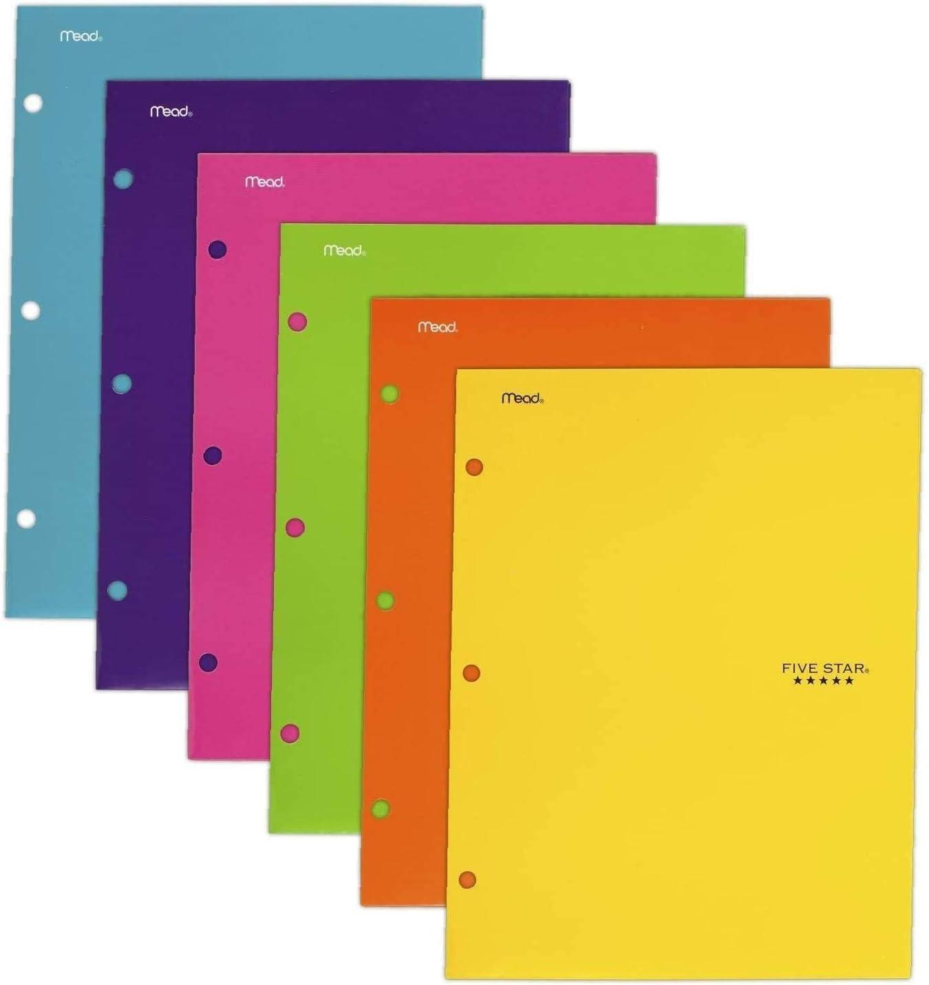 38056 6 Pack - 1 Pack Assorted Colors Five Star 4 Pocket Folders 2 Pocket Folders Plus 2 Additional Pockets