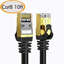 Cat 8 Ethernet Cable 10 ft Shielded, 26AWG Lastest 40Gbps 2000Mhz SFTP Patch Cord, Heavy Duty High Speed Cat8 LAN Network RJ45 Cable- in Wall, Outdoor, Weatherproof Rated for Router, Modem, Gaming