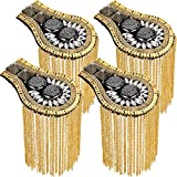4 Pieces Shoulder Epaulets Tassel Beads Tassel Chain Epaulet Shoulder Boards Badge Blazer Shoulder Epaulets Metal Beads Punk Fringe