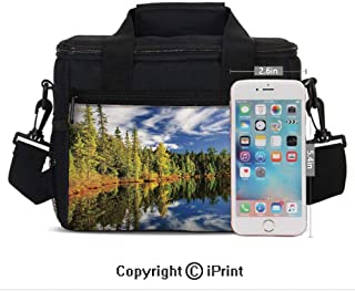Insulated Lunch Bag Box for Men and Women, Elegant Forest Reflecting on Calm Lake Shore at North Canada Universe Art Print converts to a Tote Handbag - Easy to Clean Polyester Cloth for Adults and Ki