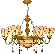ZYL-YL Tiffany Style Simple Green Leaves Lamp Stained Glass Shades 6 Arm Chandelier With 12 Inches Inverted Ceiling Pendant Lamp Lighting fixture Tiffany Lamps Ceiling Lights