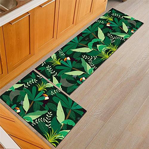 Treer Tapis de Cuisine Rectangle, Chinoiserie Classique Floral Imprimé Antidérapant et Lavable Paillasson d