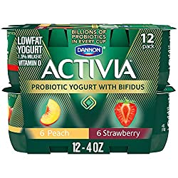 Dannon Activia Lowfat Yogurt, Strawberry & Peach Variety Pack, 4 Ounce (Pack of 12) Lowfat Probiotic