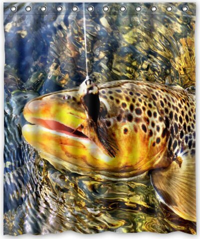 """Mesllings Shower Curtain 36""""x72"""" Inches Brook Trout Fly Fishing New Polyester Fabric Bath Curtain (Shower Rings Included)"""