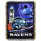 Officially Licensed NFL Baltimore Ravens 'Home Field Advantage' Woven Tapestry Throw Blanket, 48' x 60', Multi Color