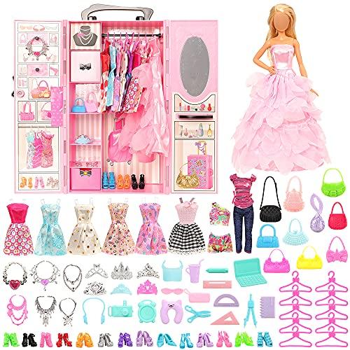 Miunana 69 Kleiderschrank Möbel Kleidung Zubehör für 11,5 Inch Puppen = 1 Schrank + 1 Schuhschrank + 9 Kleider + 10 Schuhe + 10 Kleiderbügel + 6 Halsketten + 6 Kronen + 10 Tasche + 16 Zubehör