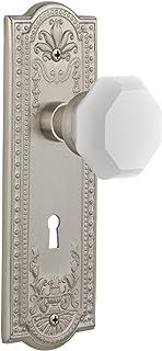 "Nostalgic Warehouse 748429 Meadows Plate with Keyhole Waldorf White Milk Glass Knob Passage, Backset Size: 2.375"", Satin N..."