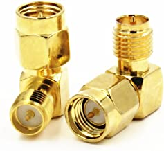 ALLISHOP 2Pcs SMA Connector 90 Degree Right Angle SMA Male to RP SMA Female Adapter Screw the Needle RF SMA Adapter