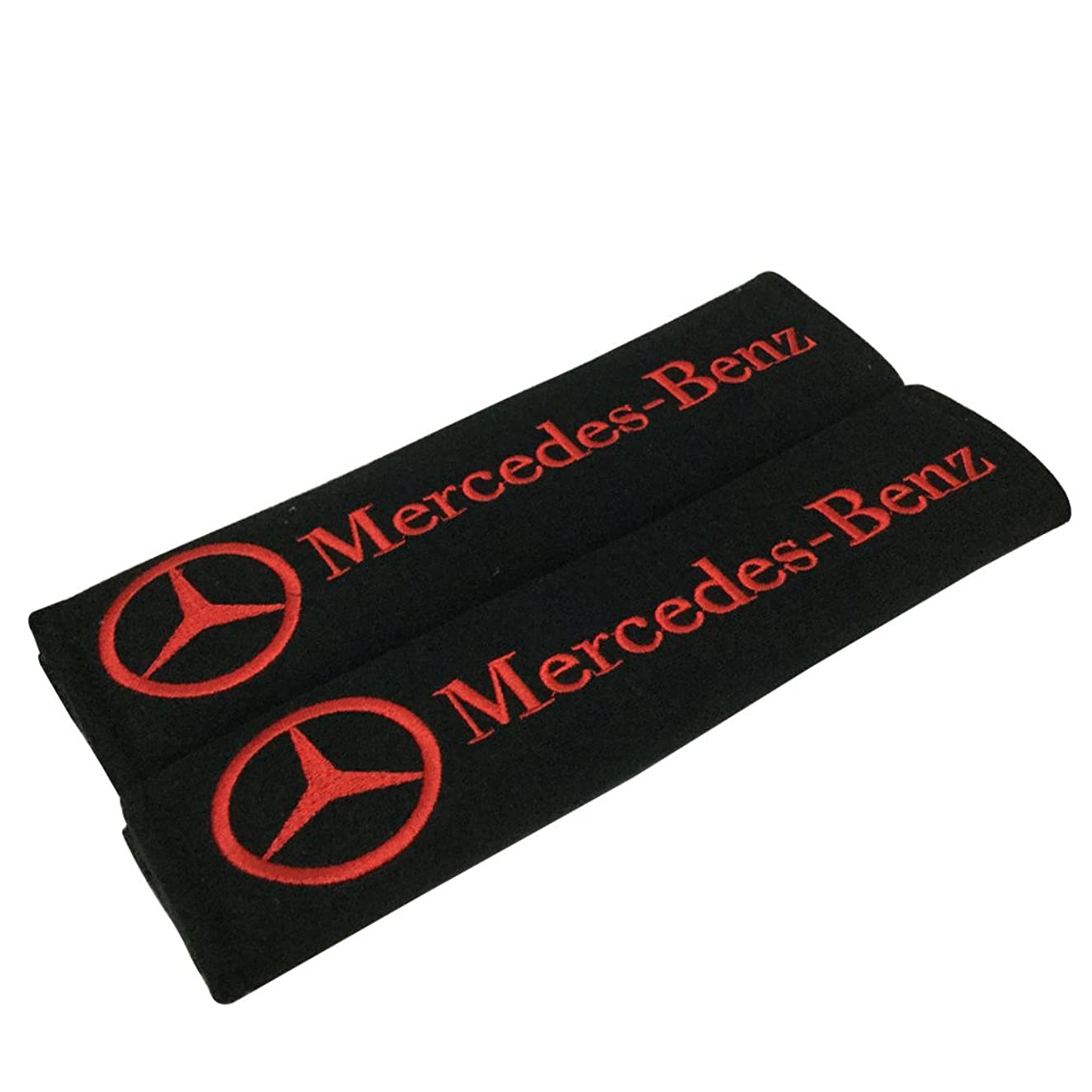 1 Pair New Car Seat Belt Shoulder Pads Red Embroidered Red Mercedes Wording Cushion Belt Decoration Fit For (Benz)