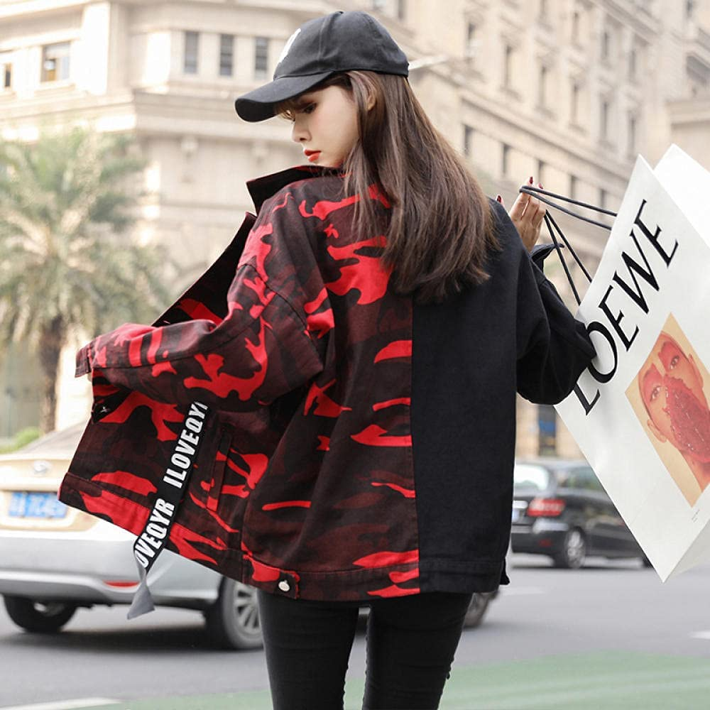 Autumn Denim Jacket Female Stitching Camouflage Stitching Retro Hong Kong Flavor Loose Cropped Top