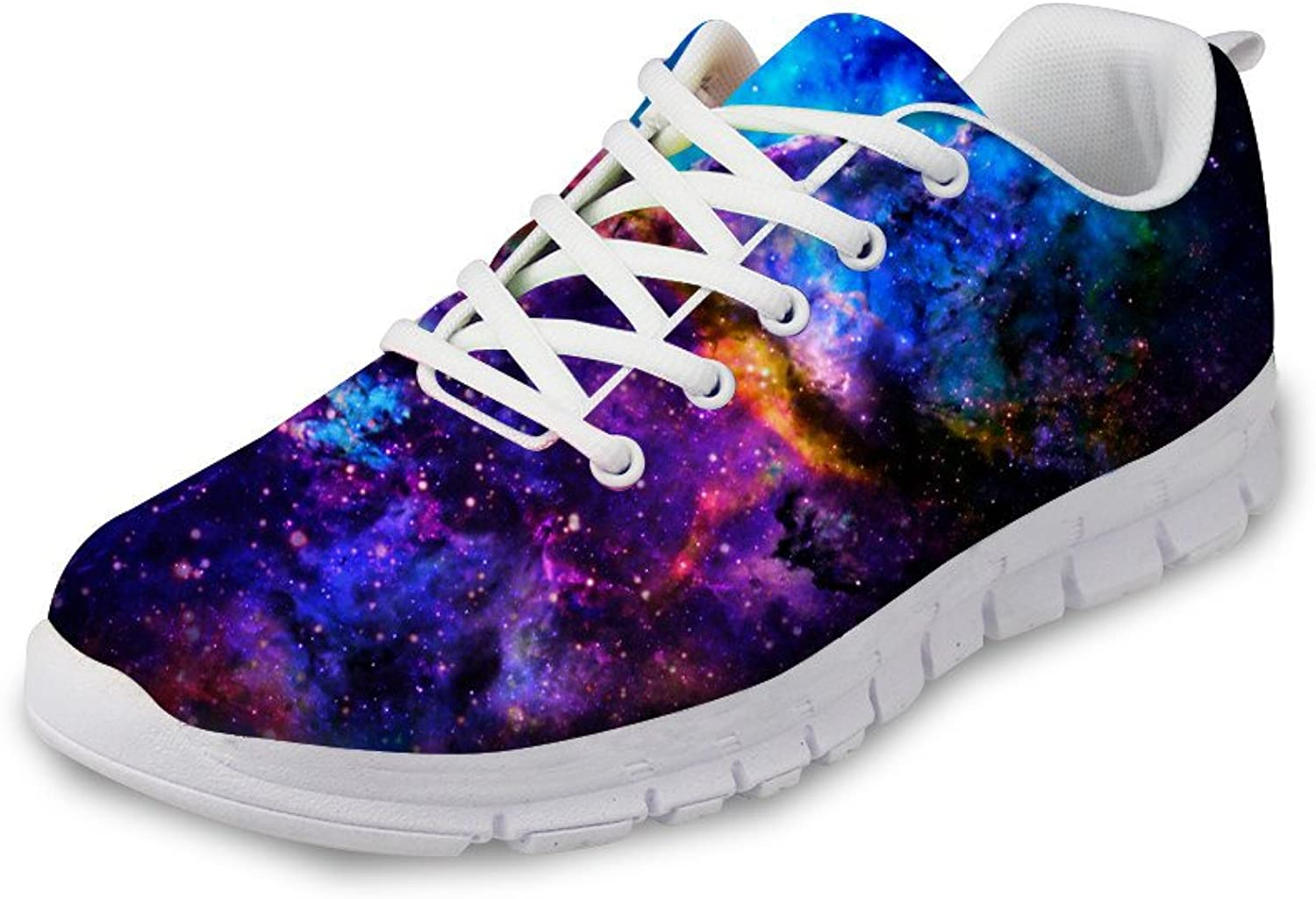 NAYINLAN Women Running shoes 3D Galaxy Print Breathable Mesh Canvas Sneakers