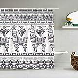Cortina de ducha Linda Alpaca africana Llama Color Folk Animal Vida silvestre Naturaleza Chile peruano Dibujo Dibujado Lama Cortinas de baño impermeables Ganchos incluidos - Ideas decorativas para el