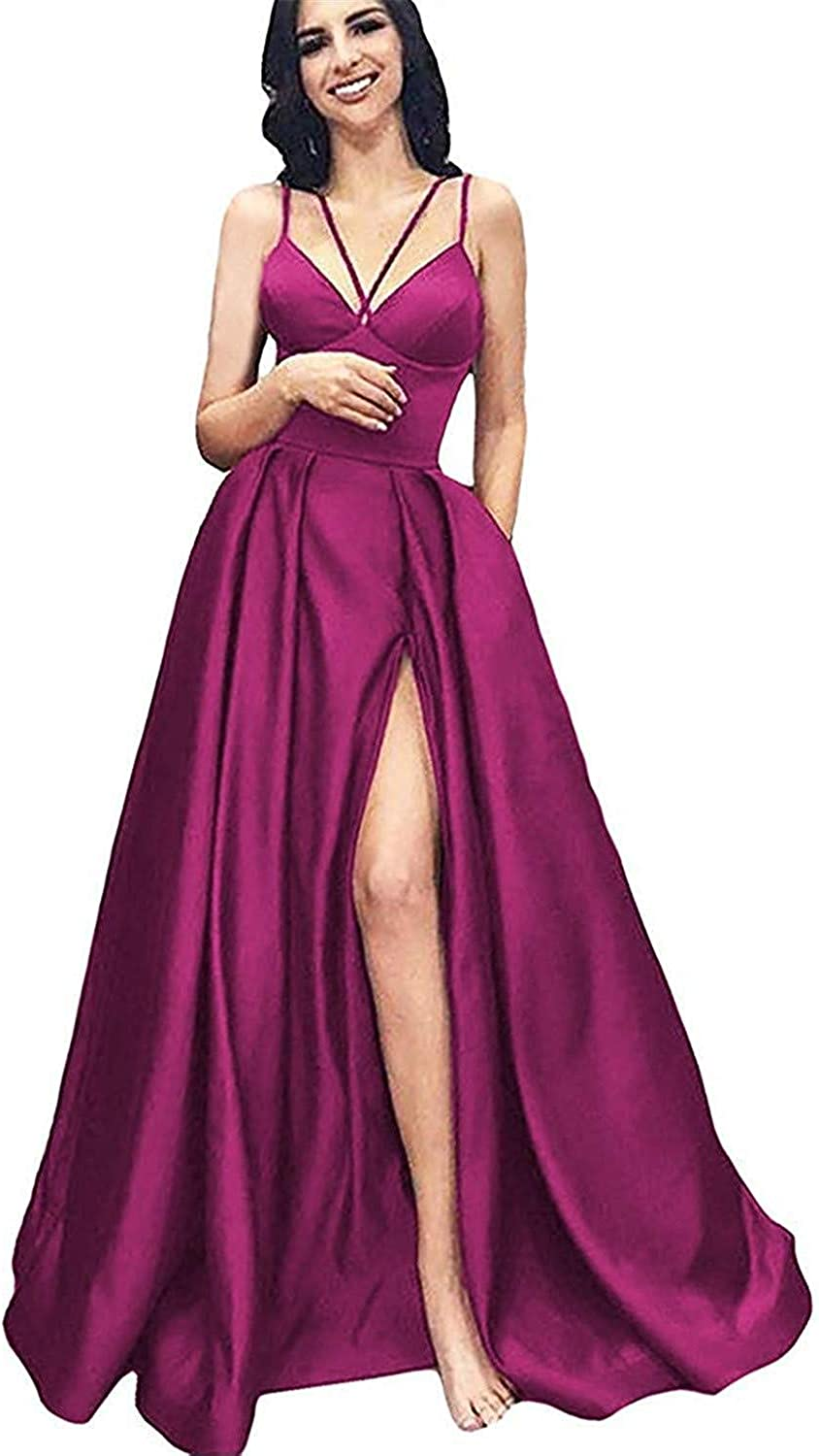 CCBubble Womens Long Satin Prom Dresses High Slit Spaghetti Straps V Neck Evening Formal Party Dress with Pockets