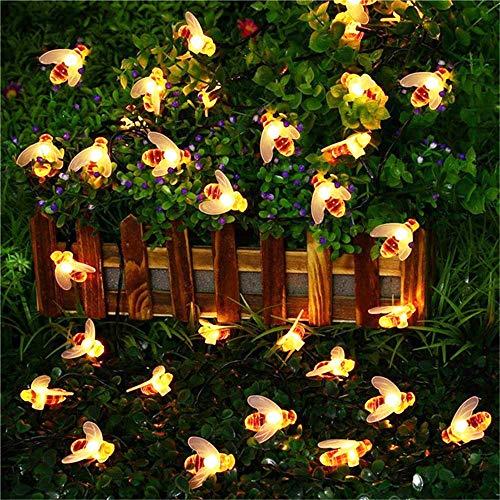 Luces Led Jardin Exterior Solar Cadena de Luce, 50 Piezas longitud de 23 pies, abeja luces de hadas alimentadas por energía solar,luz calida luces LED impermeables para jardín, decoraciones navideñas